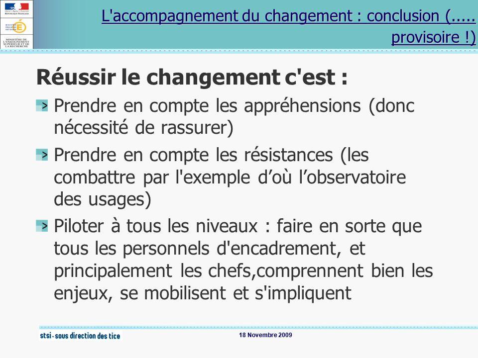L accompagnement du changement : conclusion (..... provisoire !)