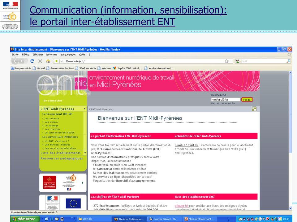 Communication (information, sensibilisation): le portail inter-établissement ENT