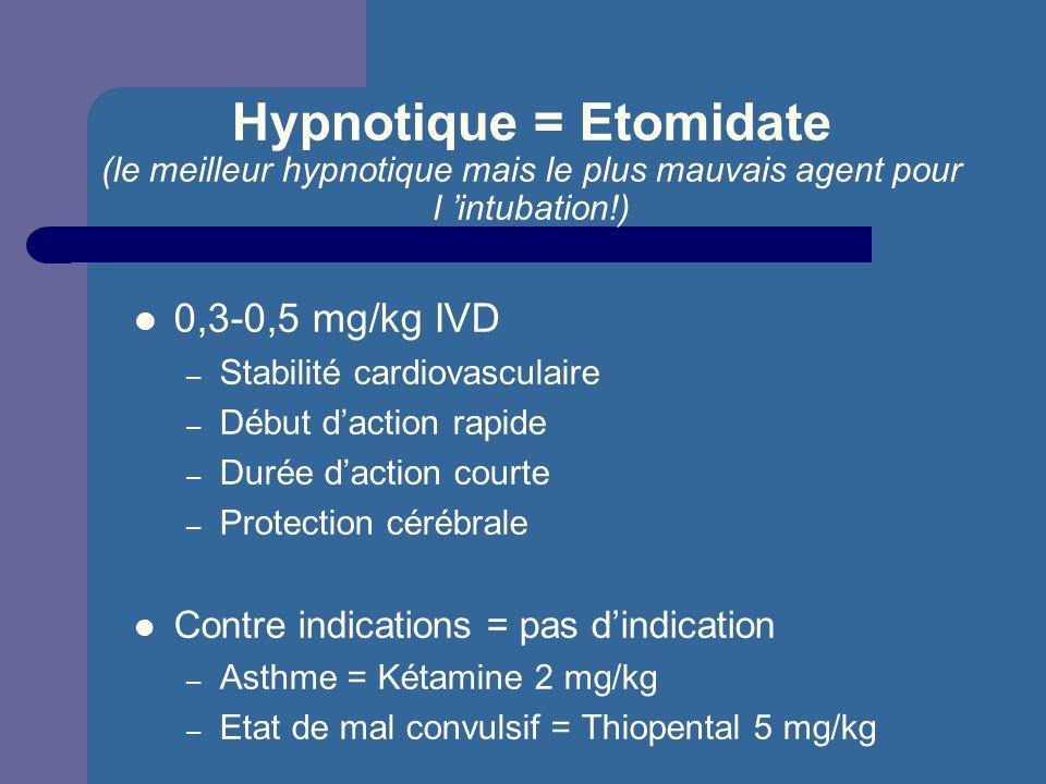 Hypnotique = Etomidate (le meilleur hypnotique mais le plus mauvais agent pour l 'intubation!)