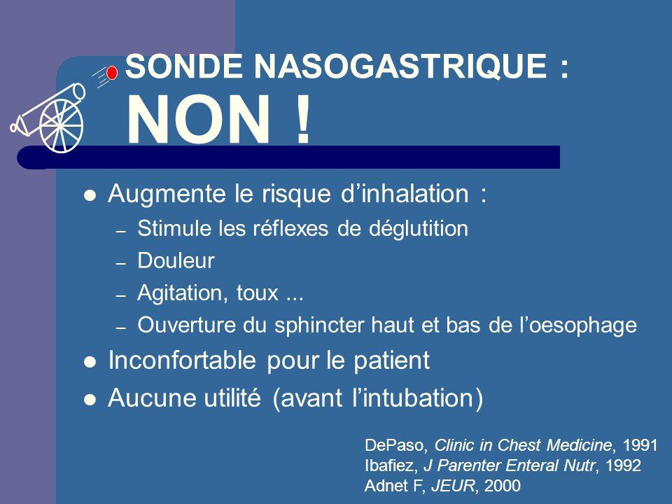 SONDE NASOGASTRIQUE : NON !