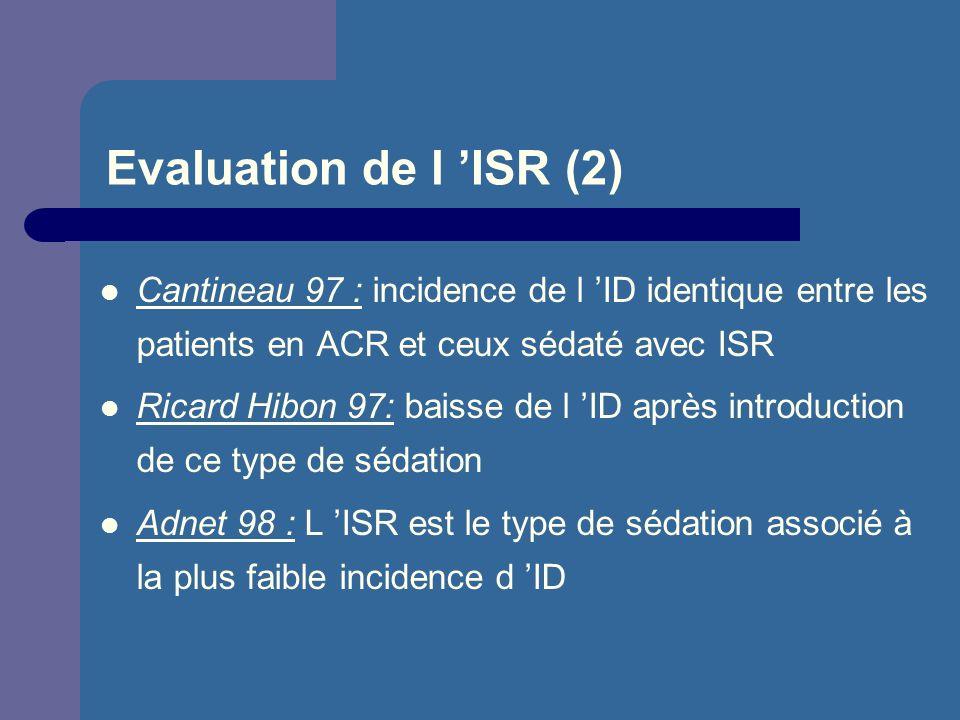 Evaluation de l 'ISR (2) Cantineau 97 : incidence de l 'ID identique entre les patients en ACR et ceux sédaté avec ISR.