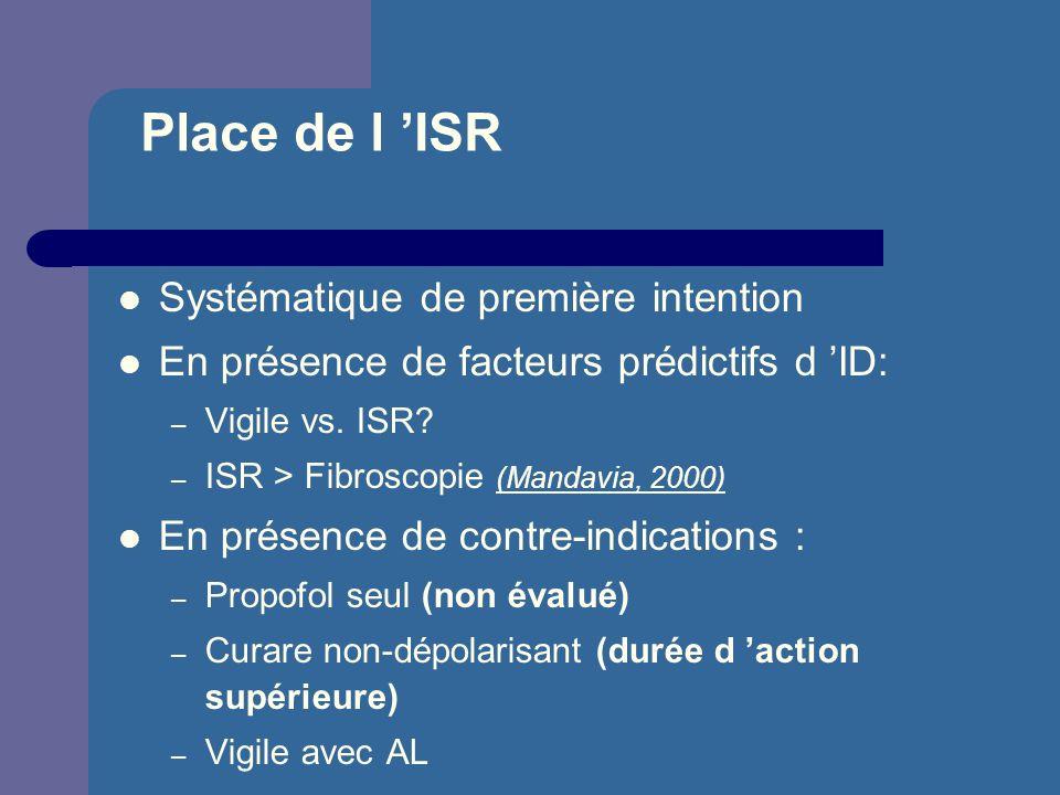Place de l 'ISR Systématique de première intention