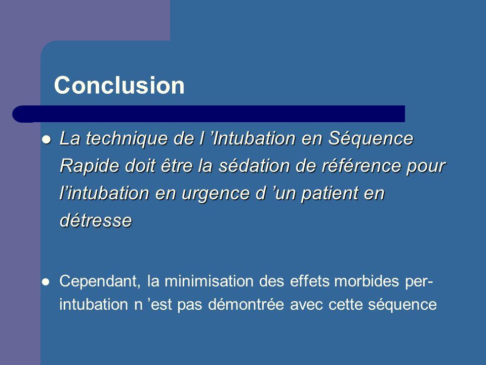 Conclusion La technique de l 'Intubation en Séquence Rapide doit être la sédation de référence pour l'intubation en urgence d 'un patient en détresse.