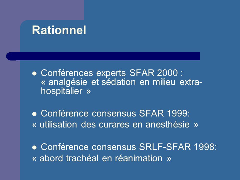 Rationnel Conférences experts SFAR 2000 : « analgésie et sédation en milieu extra-hospitalier » Conférence consensus SFAR 1999:
