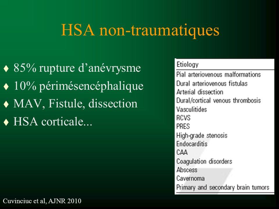 HSA non-traumatiques 85% rupture d'anévrysme 10% périmésencéphalique