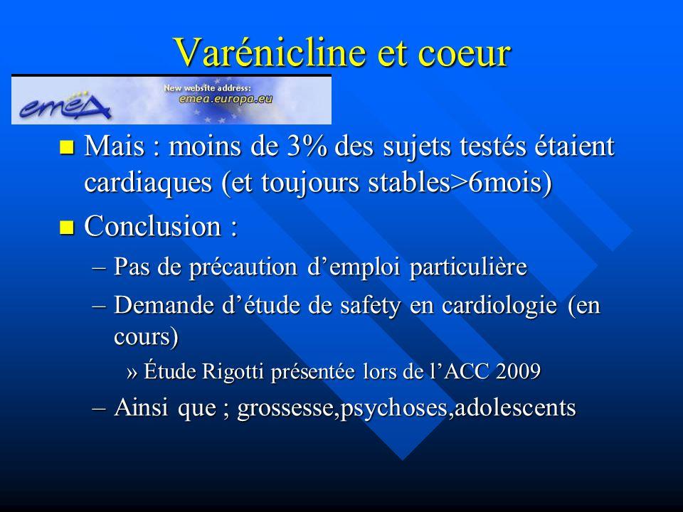 Varénicline et coeur Mais : moins de 3% des sujets testés étaient cardiaques (et toujours stables>6mois)