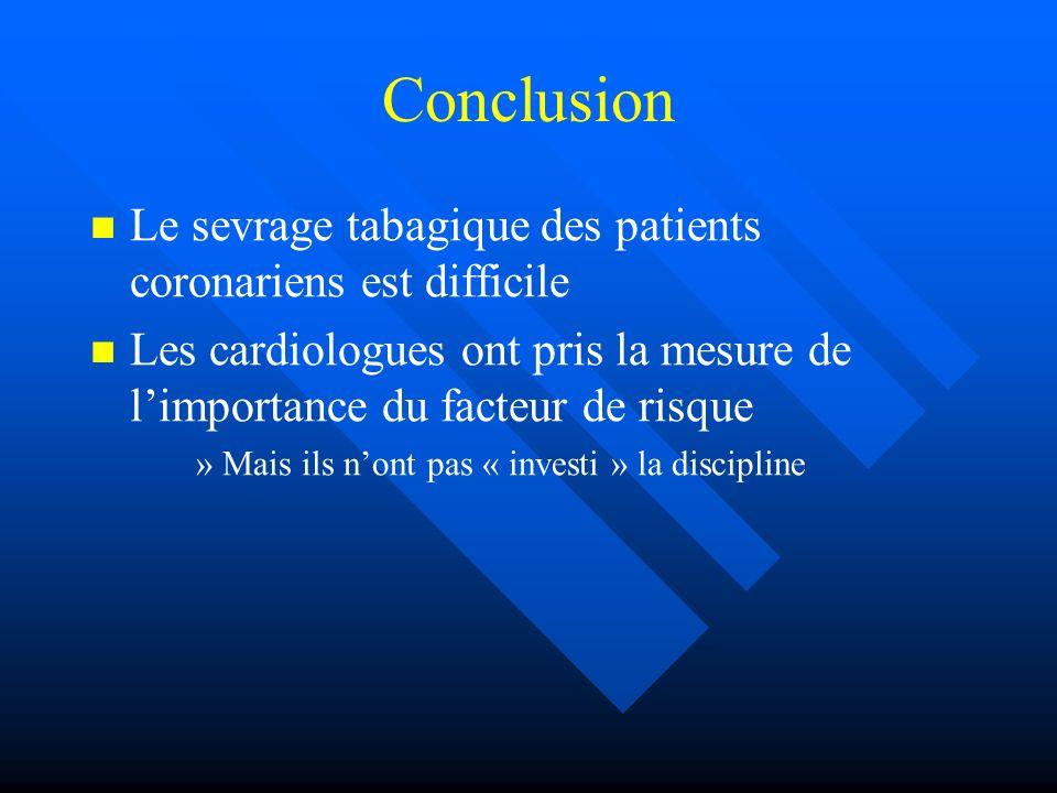 Conclusion Le sevrage tabagique des patients coronariens est difficile
