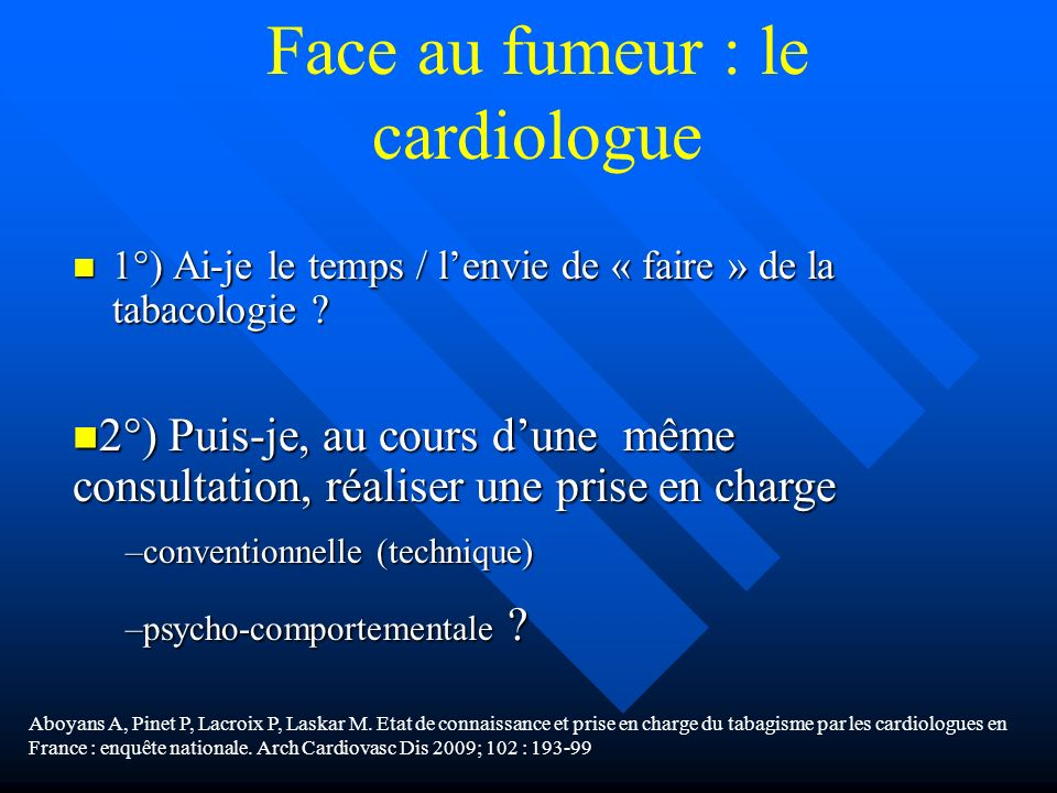Face au fumeur : le cardiologue