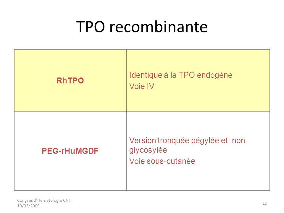TPO recombinante Identique à la TPO endogène RhTPO Voie IV