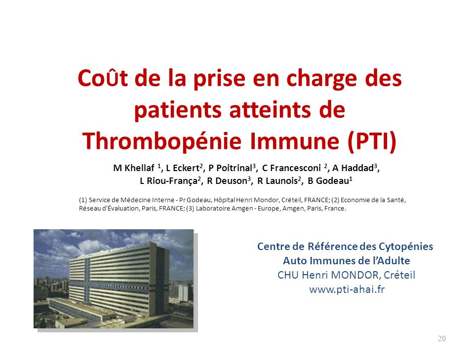 CoÛt de la prise en charge des patients atteints de Thrombopénie Immune (PTI)