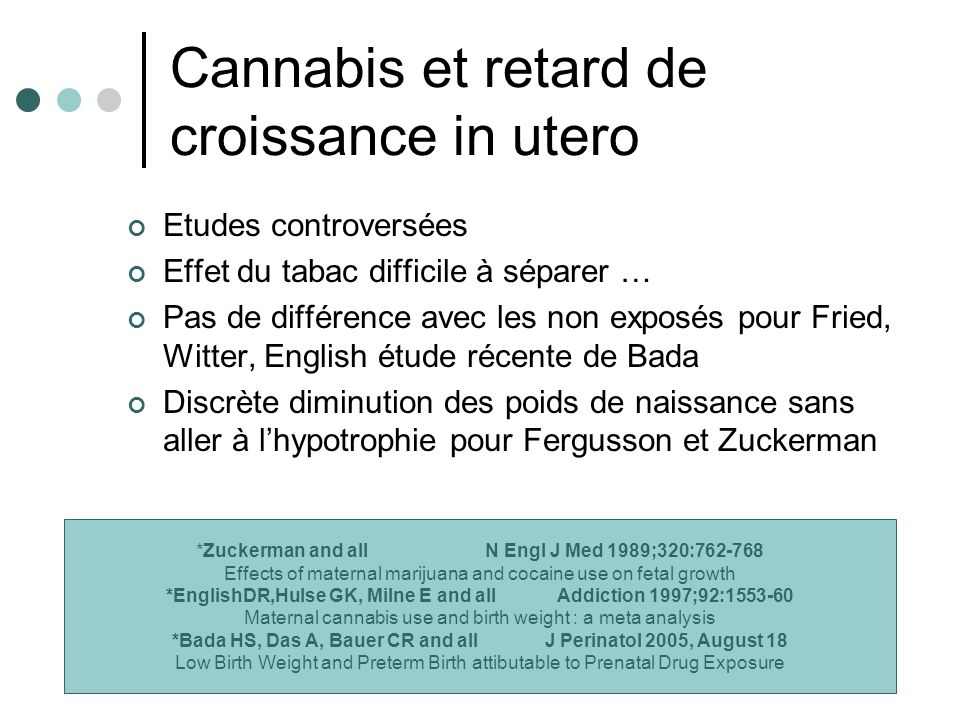 Cannabis et retard de croissance in utero