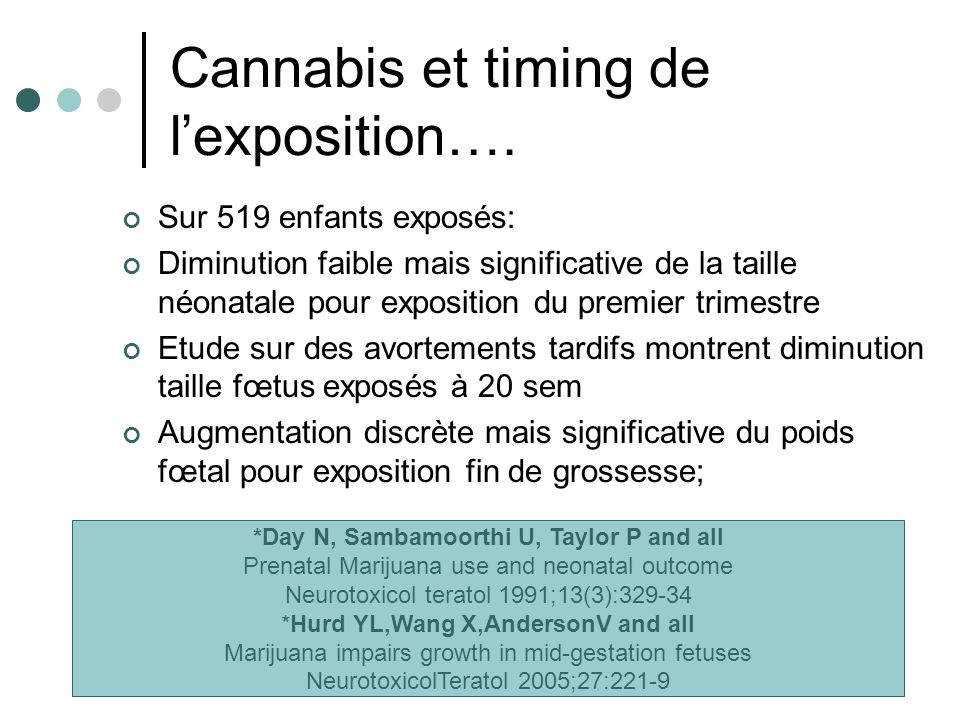 Cannabis et timing de l'exposition….