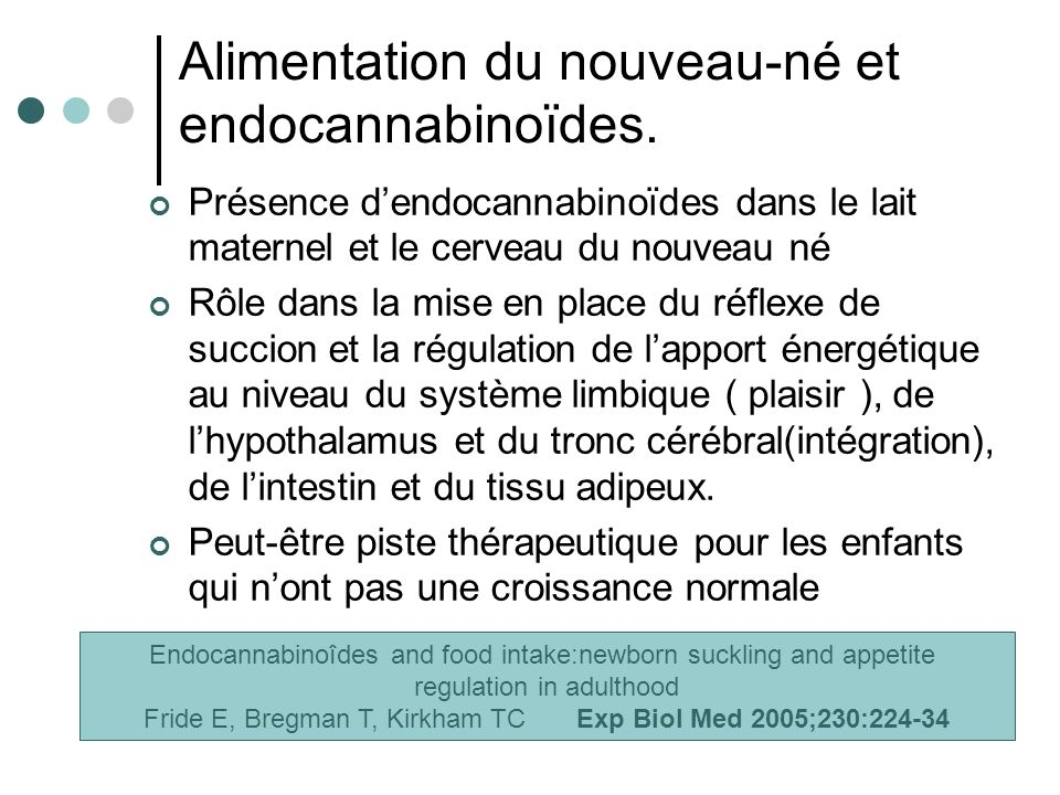 Alimentation du nouveau-né et endocannabinoïdes.