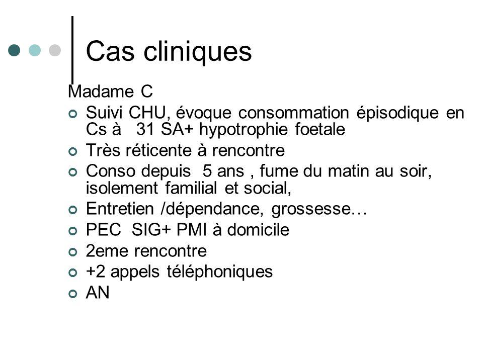 Cas cliniques Madame C. Suivi CHU, évoque consommation épisodique en Cs à 31 SA+ hypotrophie foetale.