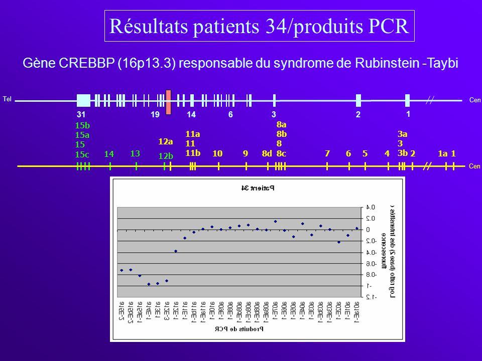 Résultats patients 34/produits PCR