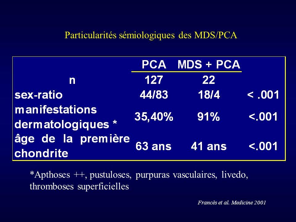 Particularités sémiologiques des MDS/PCA