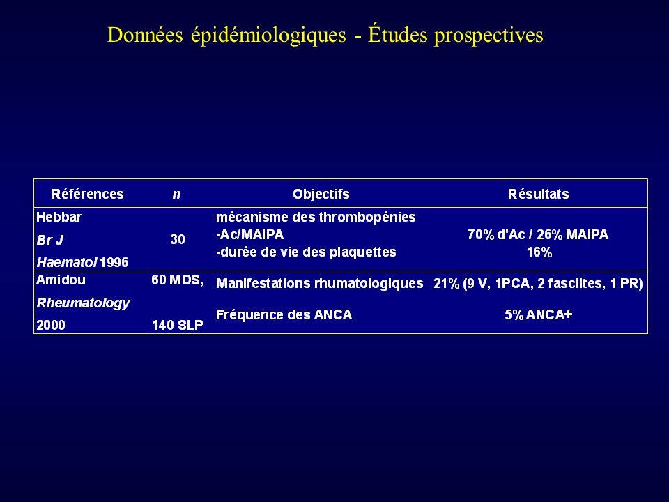 Données épidémiologiques - Études prospectives