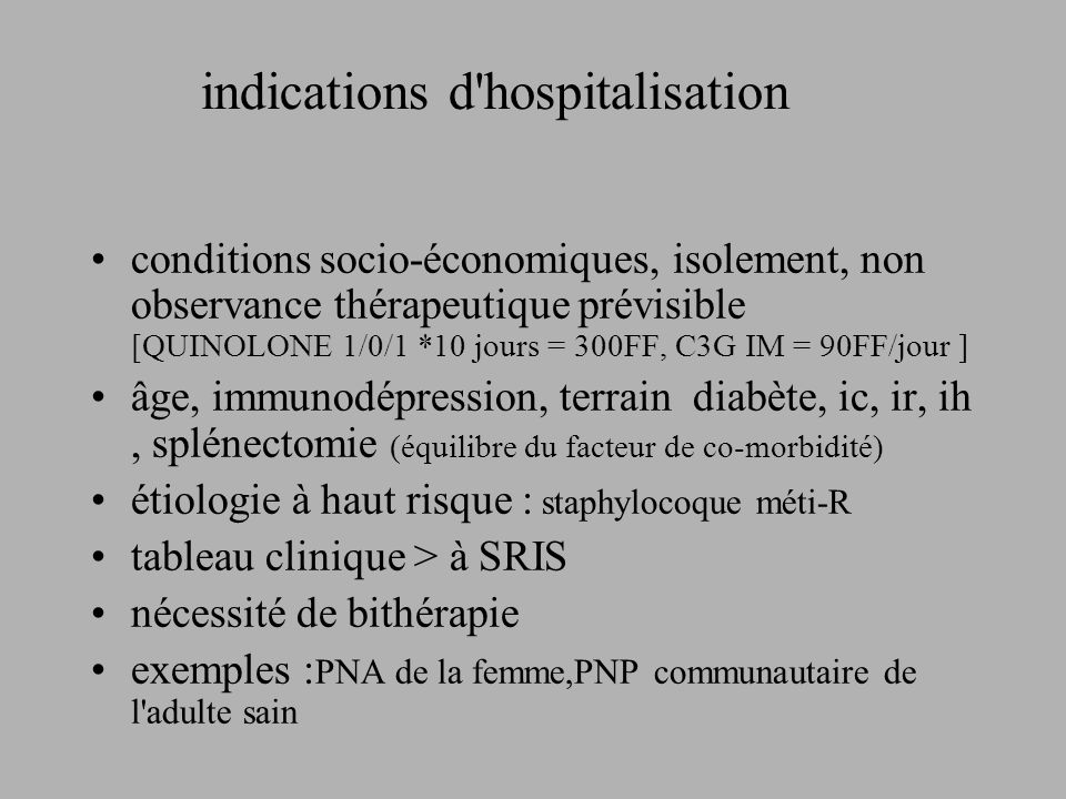 indications d hospitalisation