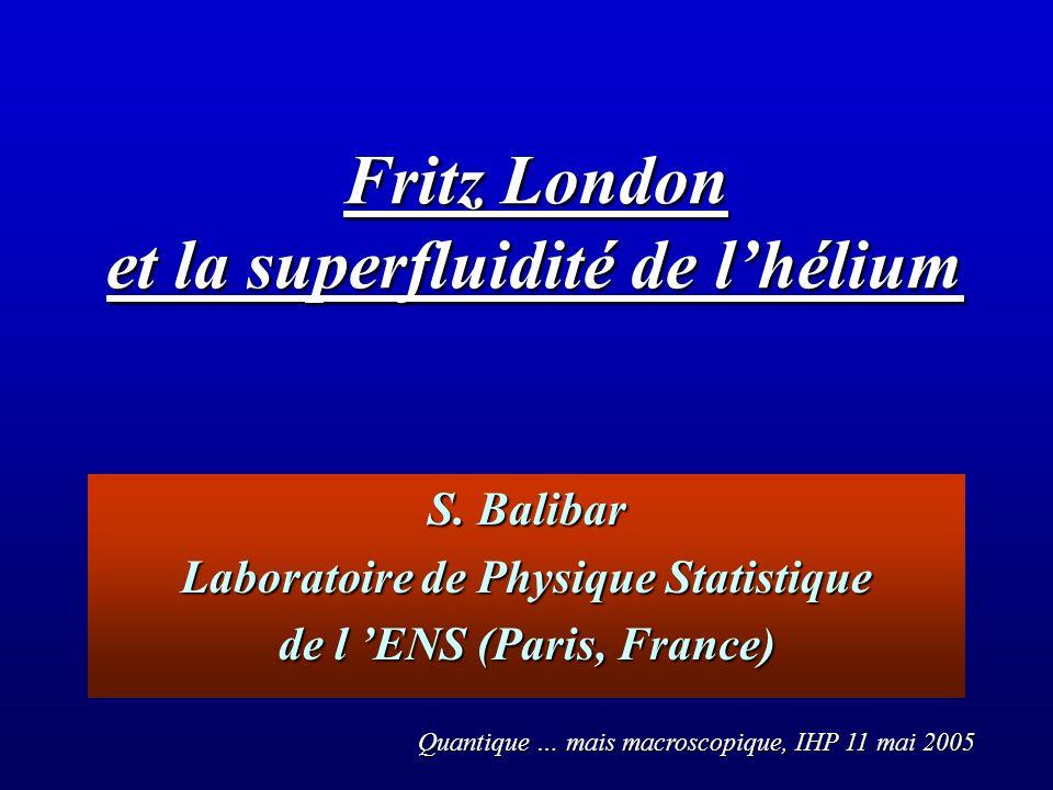 Fritz London et la superfluidité de l'hélium