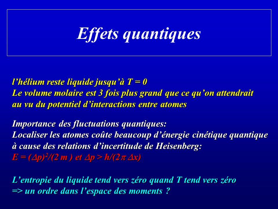 Effets quantiques l'hélium reste liquide jusqu'à T = 0