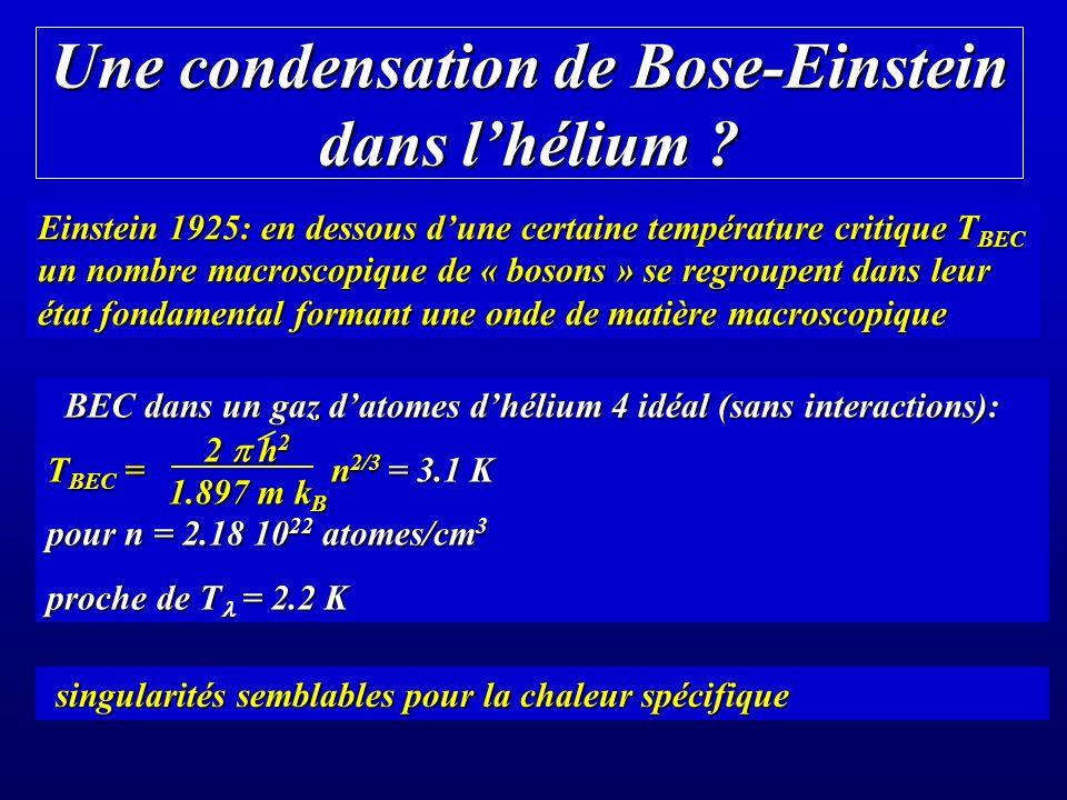 Une condensation de Bose-Einstein dans l'hélium