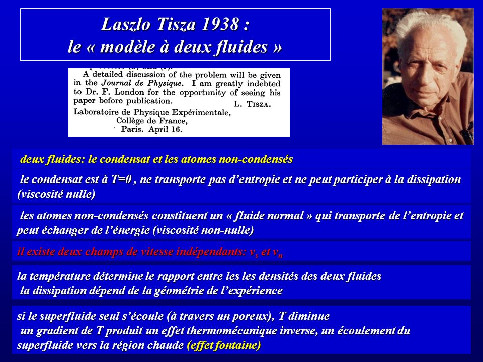 Laszlo Tisza 1938 : le « modèle à deux fluides »