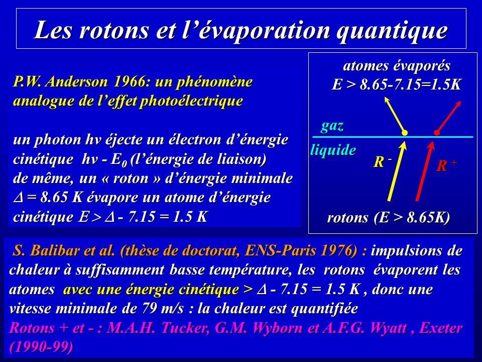Les rotons et l'évaporation quantique