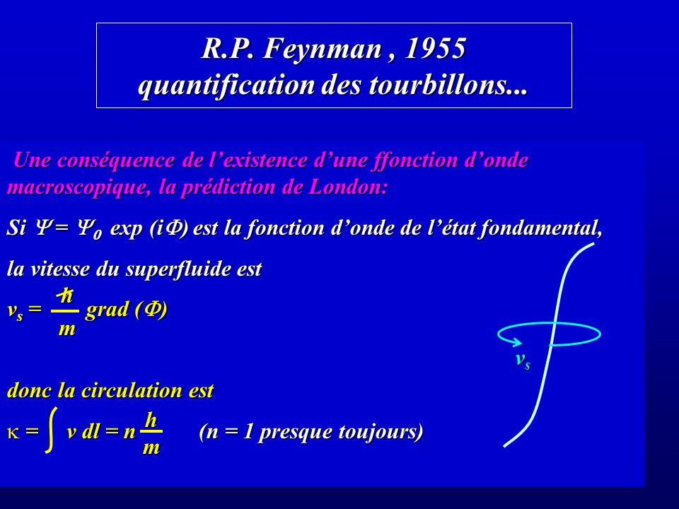 R.P. Feynman , 1955 quantification des tourbillons...