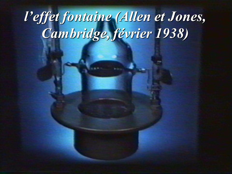 l'effet fontaine (Allen et Jones, Cambridge, février 1938)