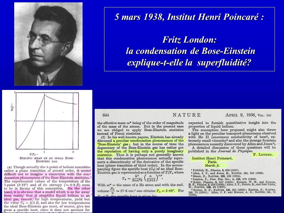 5 mars 1938, Institut Henri Poincaré : Fritz London: la condensation de Bose-Einstein explique-t-elle la superfluidité