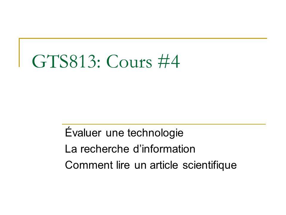GTS813: Cours #4 Évaluer une technologie La recherche d'information