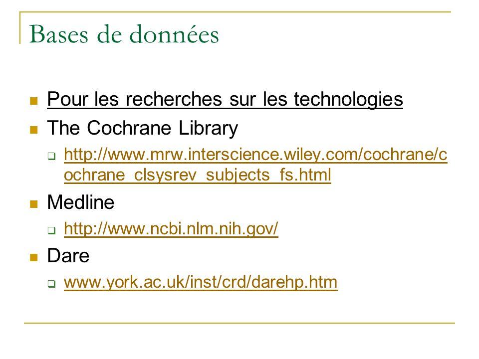 Bases de données Pour les recherches sur les technologies