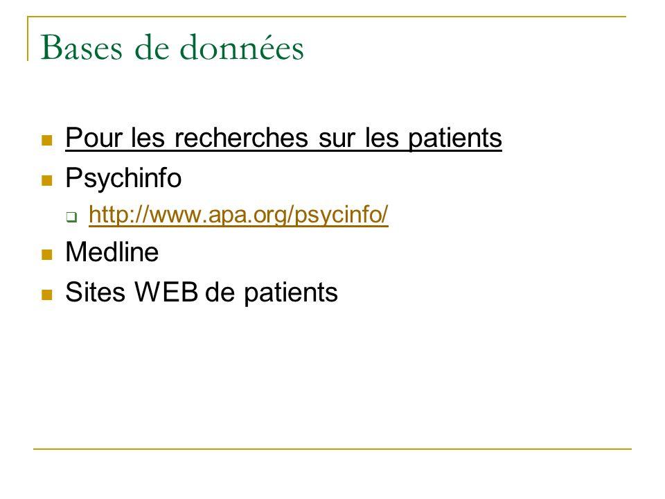 Bases de données Pour les recherches sur les patients Psychinfo
