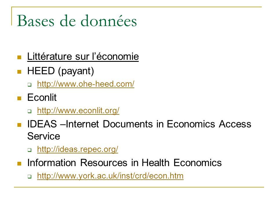 Bases de données Littérature sur l'économie HEED (payant) Econlit