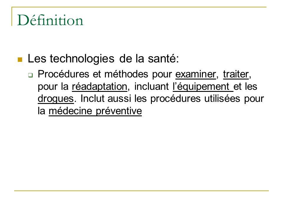 Définition Les technologies de la santé: