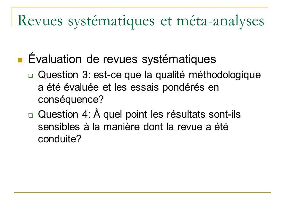 Revues systématiques et méta-analyses
