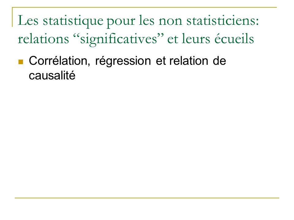 Les statistique pour les non statisticiens: relations significatives et leurs écueils