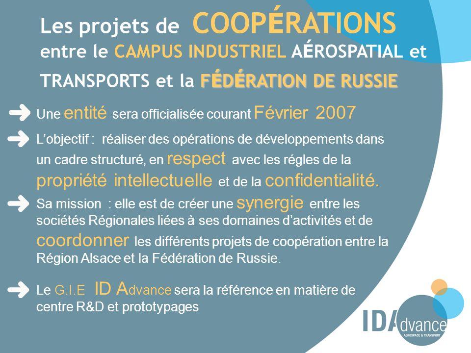 Les projets de COOPÉRATIONS entre le CAMPUS INDUSTRIEL AÉROSPATIAL et TRANSPORTS et la FÉDÉRATION DE RUSSIE