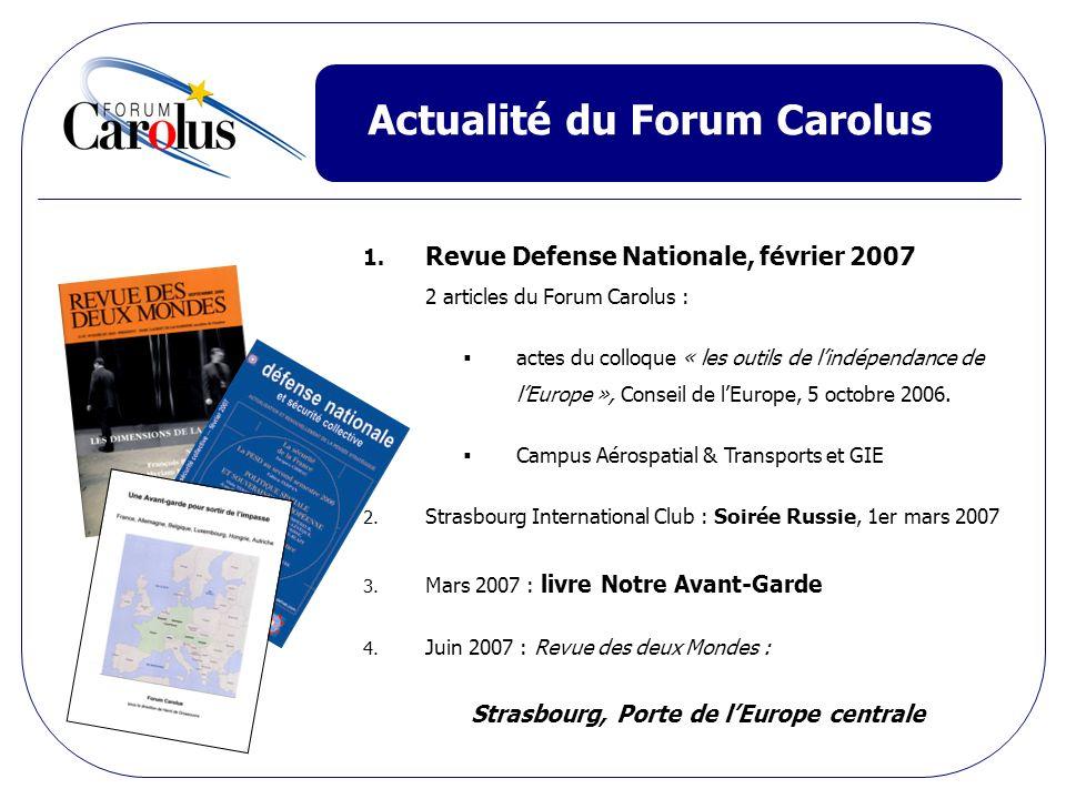 Actualité du Forum Carolus