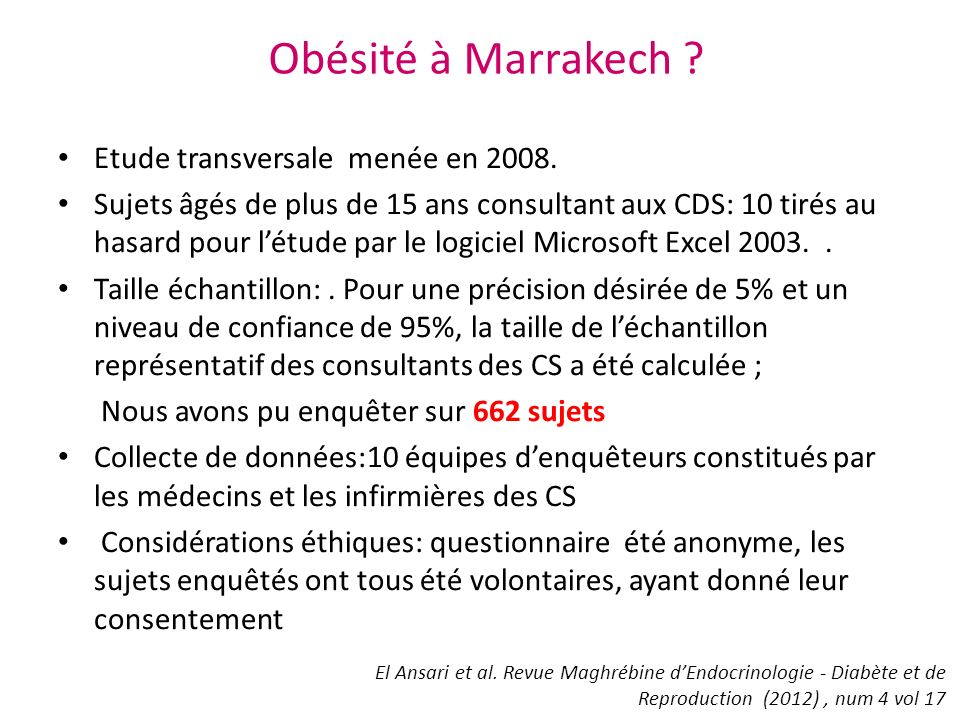 Obésité à Marrakech Etude transversale menée en 2008.