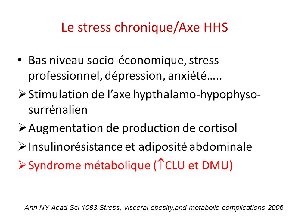 Le stress chronique/Axe HHS