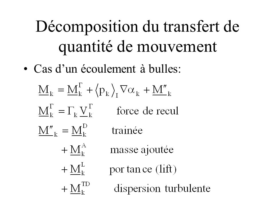 Décomposition du transfert de quantité de mouvement