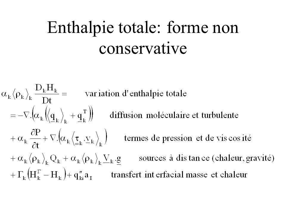Enthalpie totale: forme non conservative
