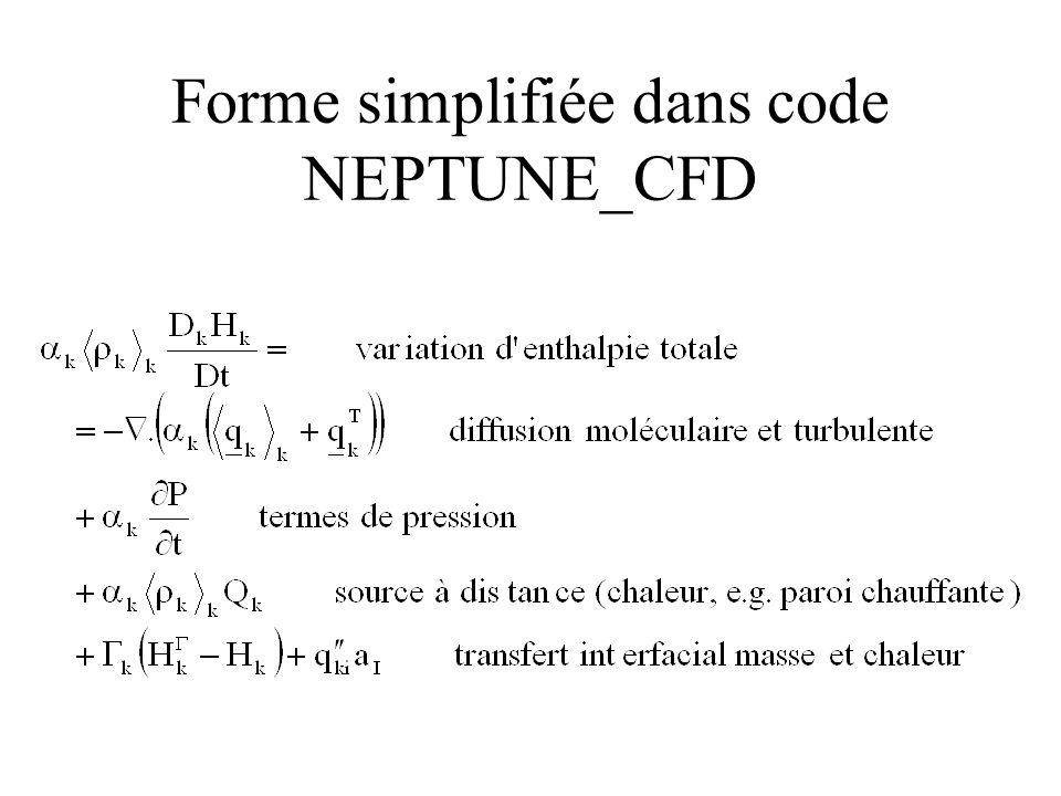 Forme simplifiée dans code NEPTUNE_CFD