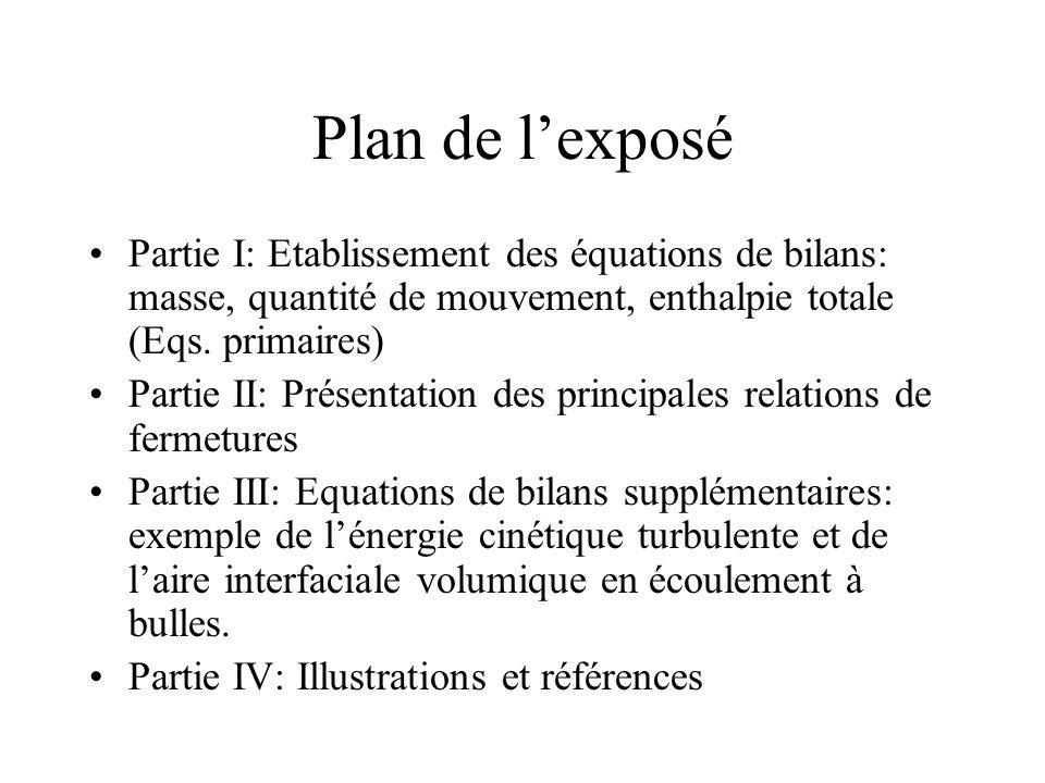 Plan de l'exposé Partie I: Etablissement des équations de bilans: masse, quantité de mouvement, enthalpie totale (Eqs. primaires)