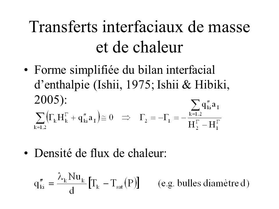 Transferts interfaciaux de masse et de chaleur