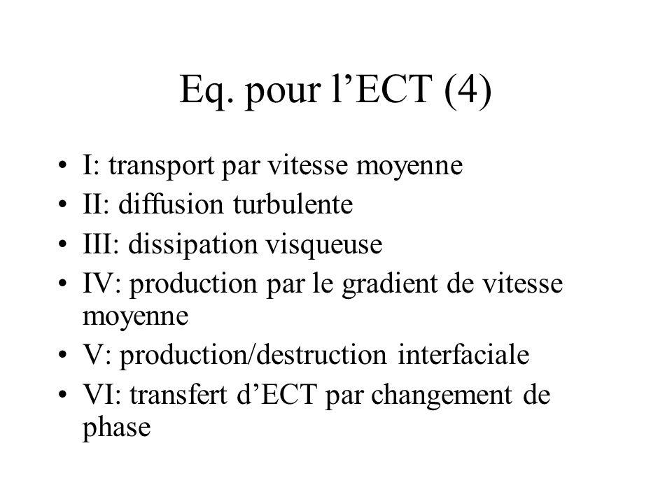 Eq. pour l'ECT (4) I: transport par vitesse moyenne