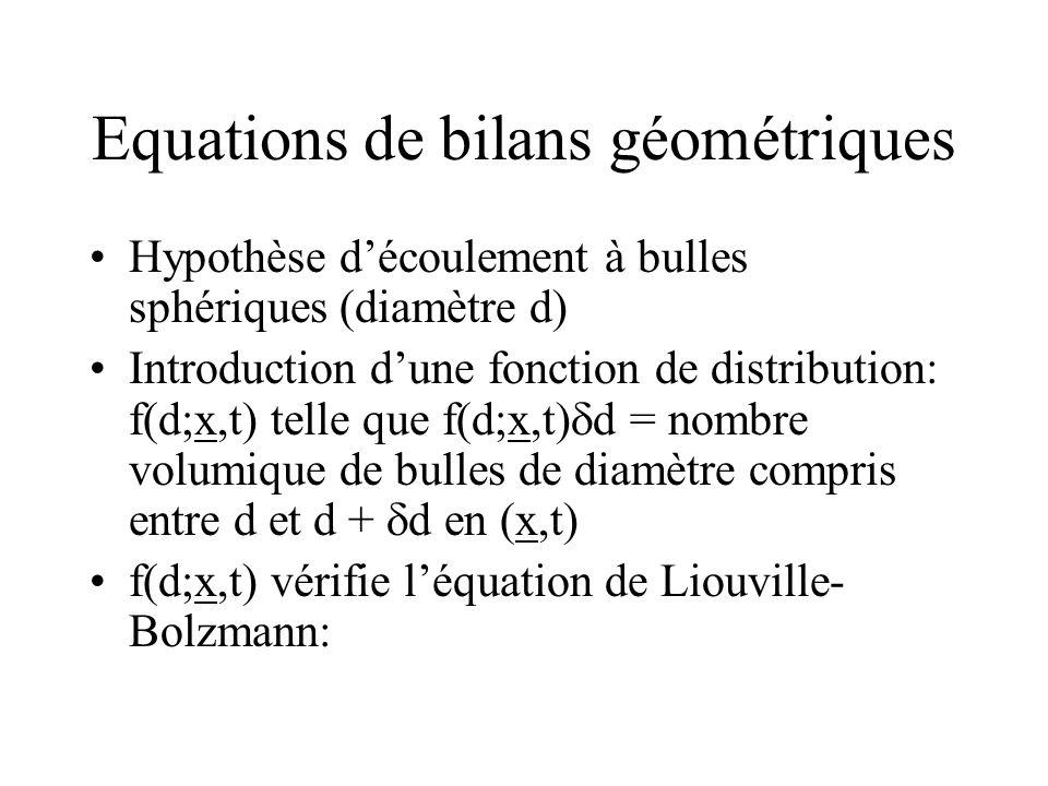 Equations de bilans géométriques
