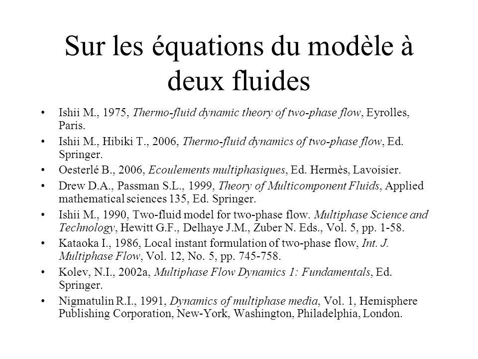 Sur les équations du modèle à deux fluides