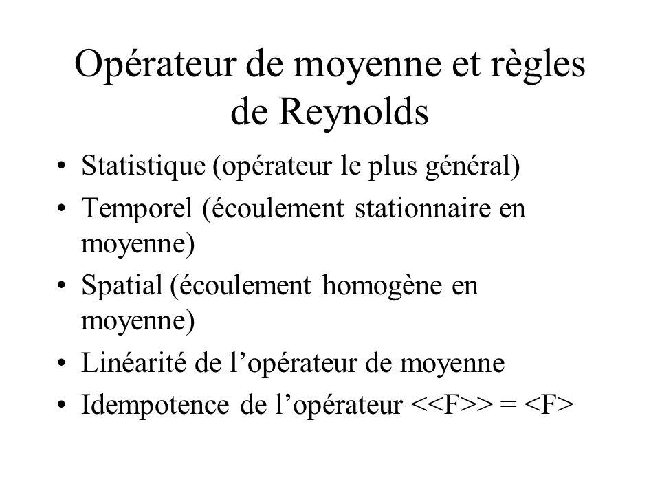 Opérateur de moyenne et règles de Reynolds